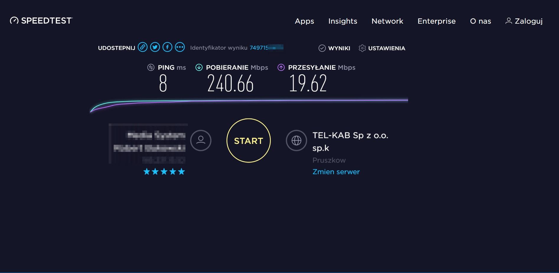 Wyniki speedtestu przez polski serwer NordVPN