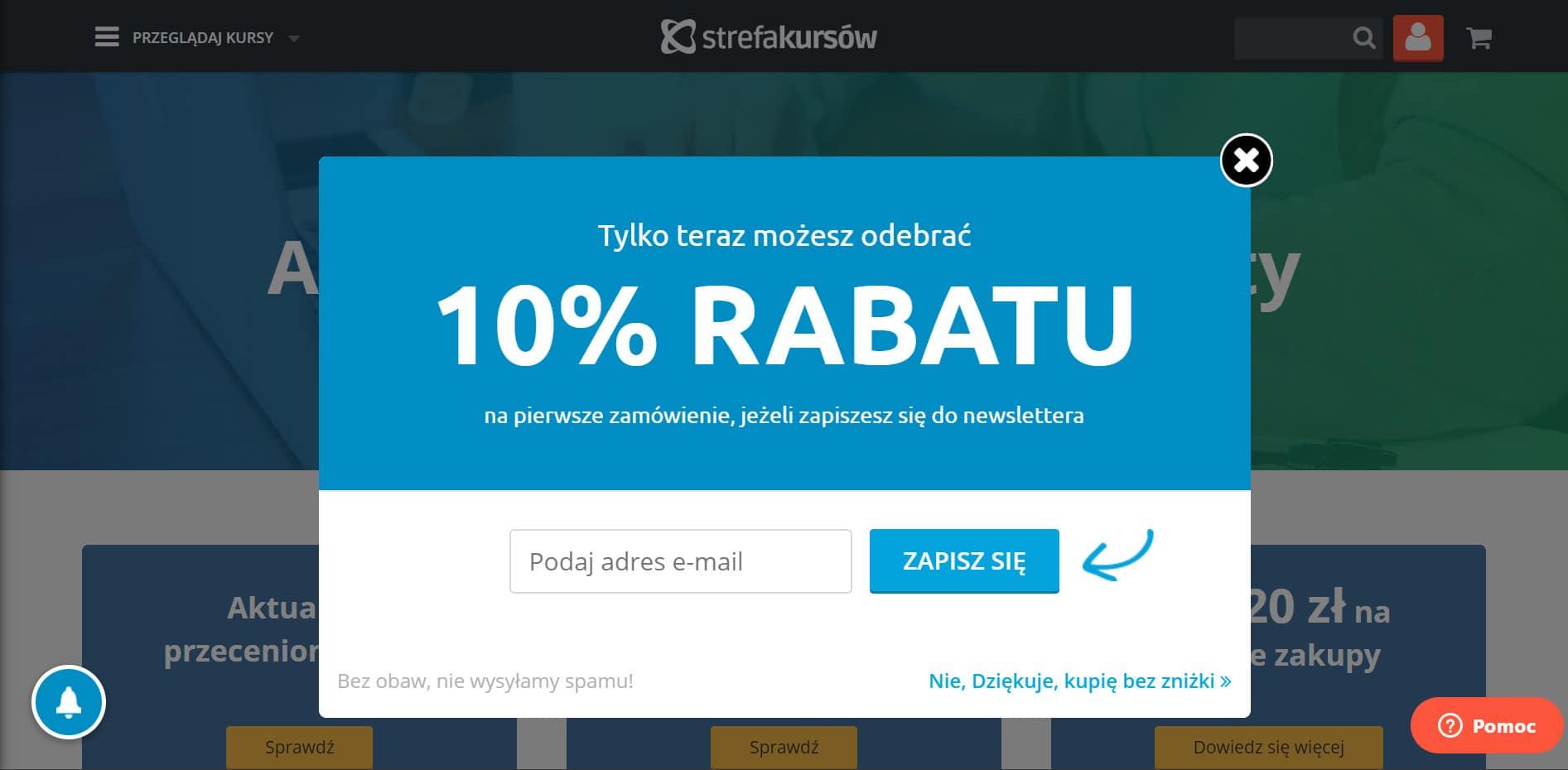 Strefa Kursów - kupon 10% za newsletter