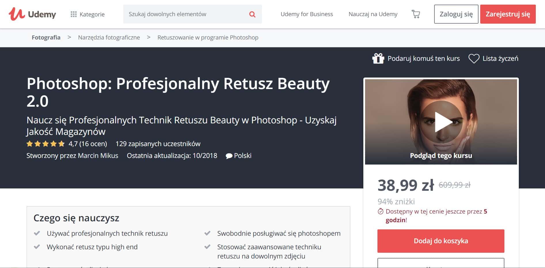 Udemy - Photoshop profesjonalny retusz beauty