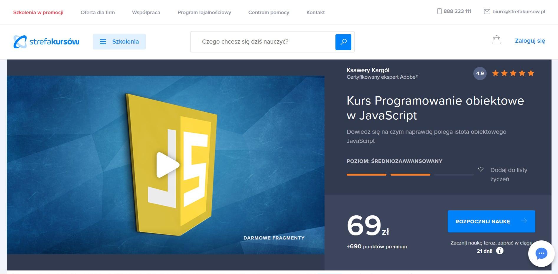 Strefa Kursów JavaScript programowanie obiektowe
