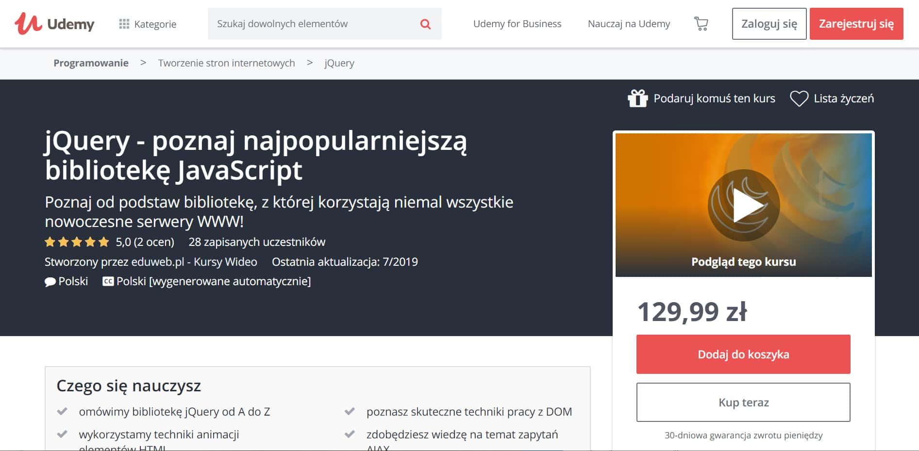 Udemy JavaScript poznaj jQuery
