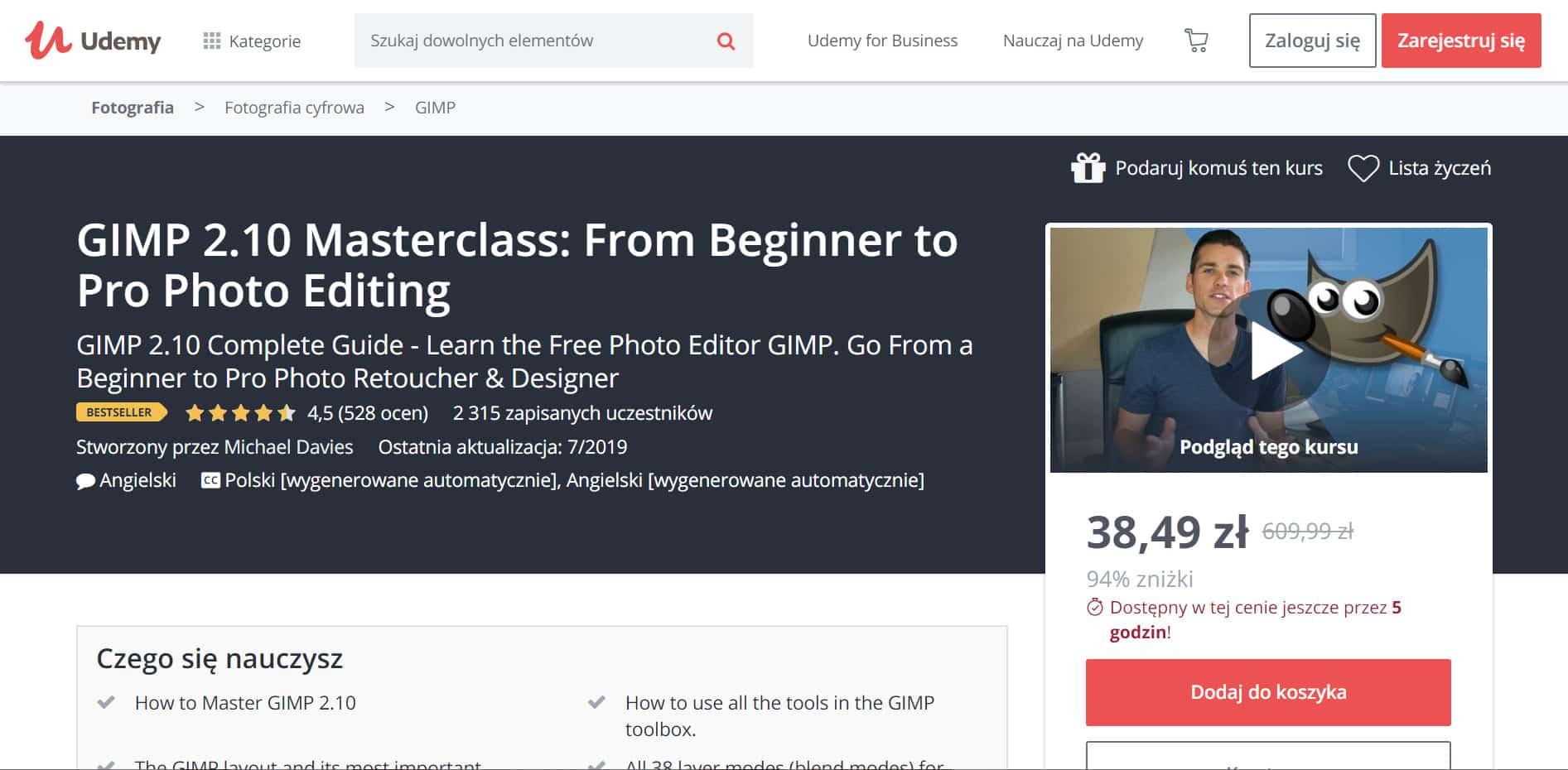 Udemy - kurs GIMP od amatora do profesjonalisty